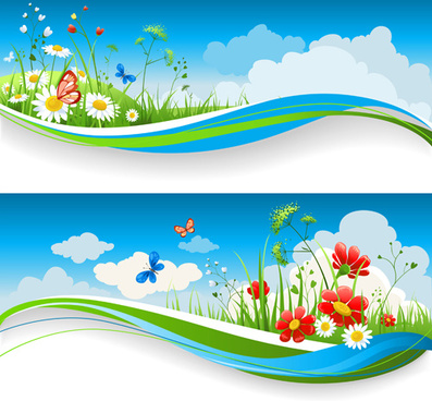 beautiful summer landscapes design vector