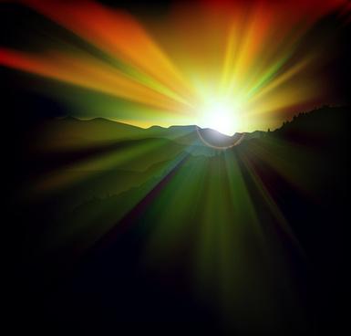 beautiful sunset scenery vector