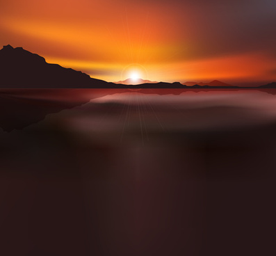 beautiful sunset scenery vector