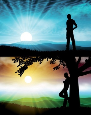 beautiful sunset silhouette vector and characters