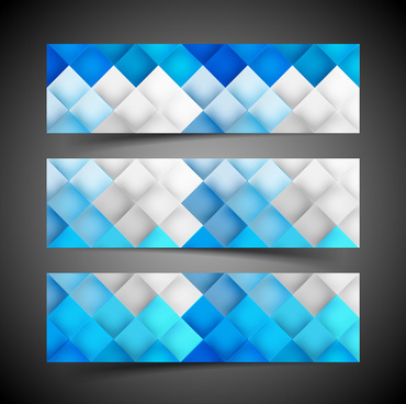 beautiful three header set for geometric seamless pattern blue colorful vector
