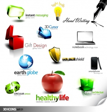 logo templates modern 3d colored symbols design