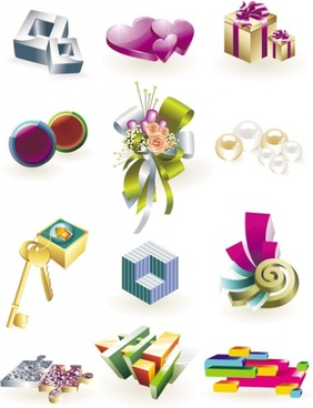 beautiful threedimensional small icon 01 vector