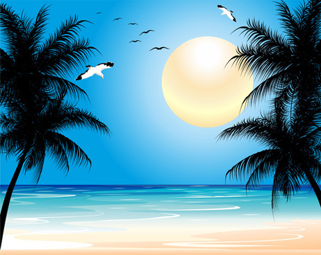 beautiful tropic landscape vector