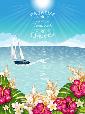 beautiful tropical paradise scenery background vector