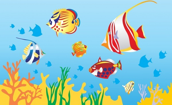 marine background fishes coral icons colorful design