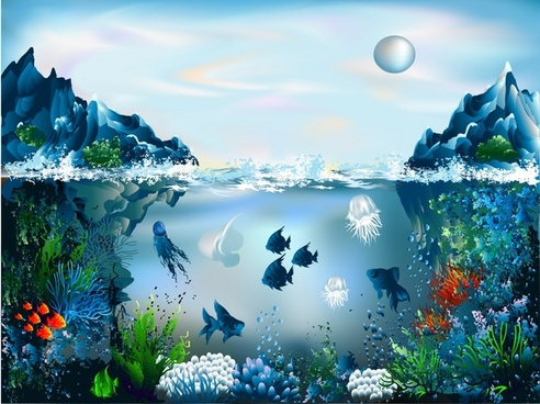 ocean painting colorful modern realistic design