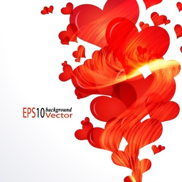 valentines background vivid dynamic red hearts motion