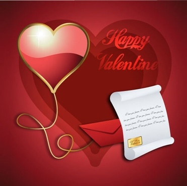 beautiful valentine background envelope vector