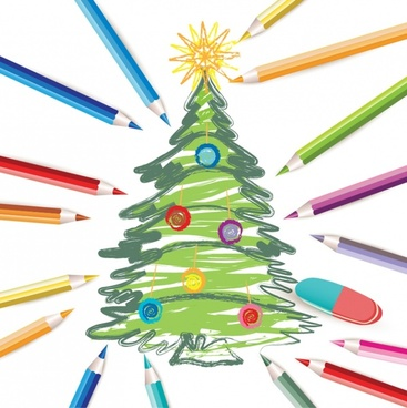 beautiful vector christmas tree lines
