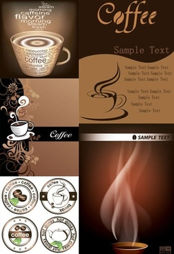 coffee banner templates classic brown cup aroma decor