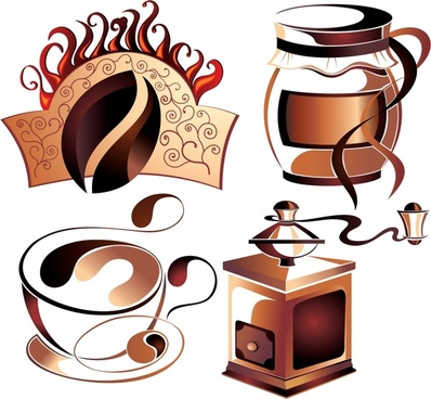 coffee design elements brown 3d symbols sketch