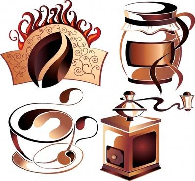 coffee design elements brown 3d symbols sketch