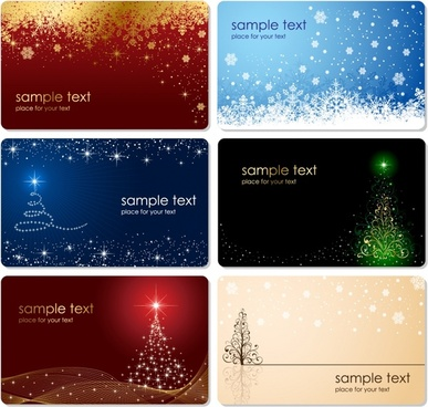 christmas card templates sparkling snowflakes fir tree decor