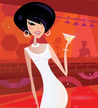 party lady painting cartoon character sketch
