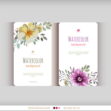 beautiful watercolor flower business cards vector set