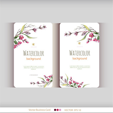 Flower business card background free vector download 65798 free beautiful watercolor flower business cards vector set cheaphphosting Gallery