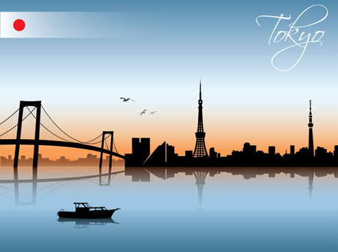 beautiful waterfront city scenery vector set