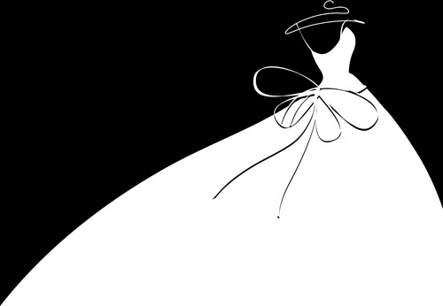 beautiful wedding dress silhouette design vector