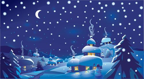 beautiful winter landscapes vector