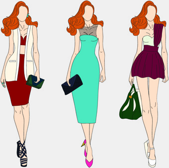 beautiful with fashion models vector