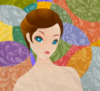 beautiful woman drawing multicolored cartoon design