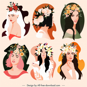 beautiful woman icons flowers hairstyle sketch cartoon characters