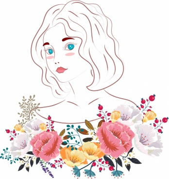 beautiful woman painting colorful flowers decor handdrawn outline