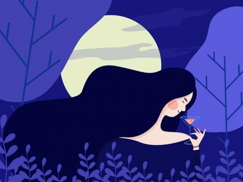 beautiful woman painting dark violet moonlight icon