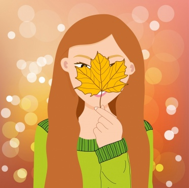 beautiful woman painting leaf hidden face bokeh decor