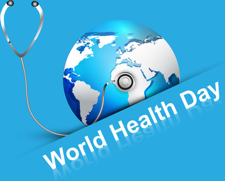beautiful world health day blue colorful shiny globe with creative concept vector background