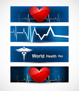 beautiful world health day four headers set medical symbol colorful vector design