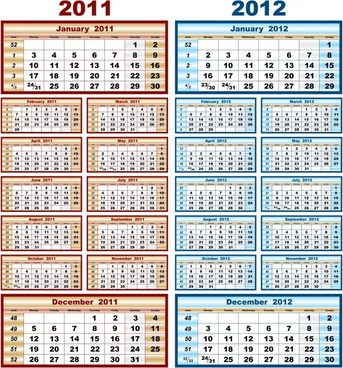 calendar templates colored simple layout