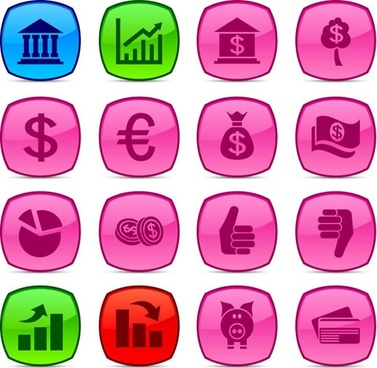 finance icons collection colored flat symbols sketch