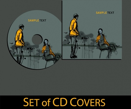 cd cover template romantic design grunge handdrawn classic