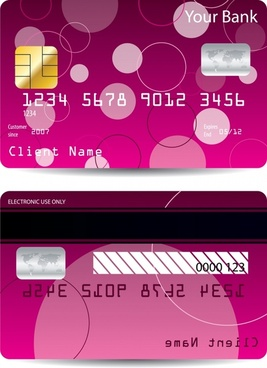 bank card template dark pink flat circles decor