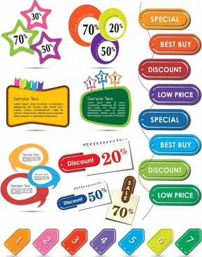 beautifully colored labels vector
