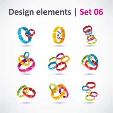 web icons templates modern colorful 3d rings decor