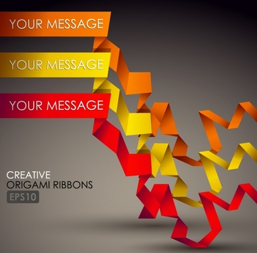 origami ribbons background colorful dynamic 3d design