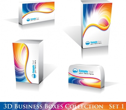 packaging box icons modern 3d realistic design