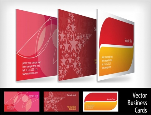 business card templates flat colored geometric stars decor
