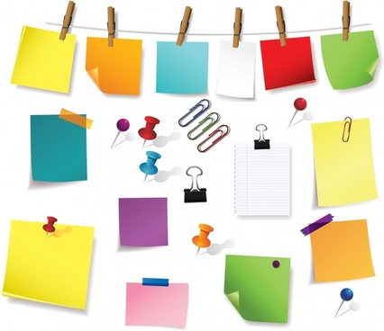note stickers design elements colorful modern sketch