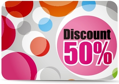 discount voucher card template colorful flat circles ornament