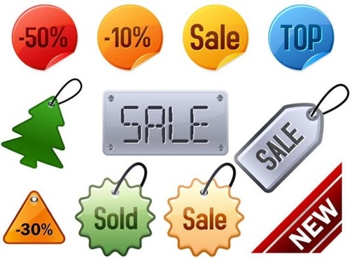 sale tags templates colorful modern flat shapes
