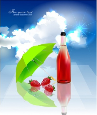 strawberry juice advertising banner colorful modern sparkling decor