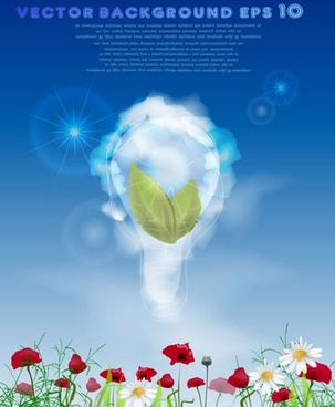 eco background template colorful modern lightbulb plants sketch