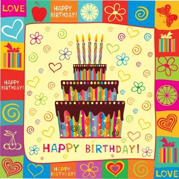 birthday banner cream cake sketch decorative elements frame