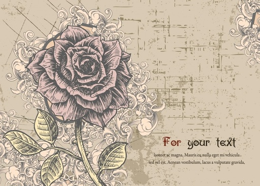 rose background template retro grunge handdrawn sketch