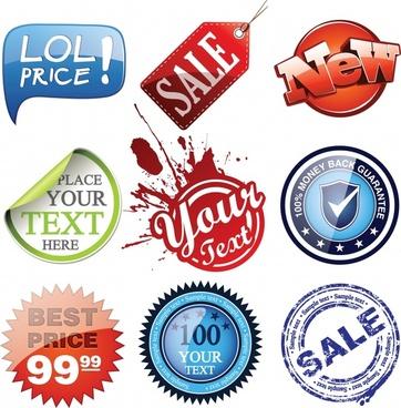 sale labels stickers stamp templates modern retro design