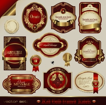 luxury badge templates european elegant goden red decor